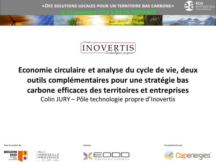 Colloque bas carbone : outils d'aide à la décision pour territoires et entreprises